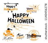happy halloween. typography set.... | Shutterstock .eps vector #1140456278
