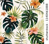 tropical illustration monstera... | Shutterstock .eps vector #1140461888