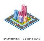 colorful 3d isometric city | Shutterstock . vector #1140464648