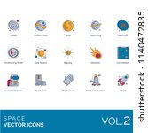 space flat vector icons. galaxy ... | Shutterstock .eps vector #1140472835