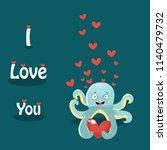 octopus  love  vector... | Shutterstock .eps vector #1140479732