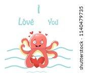 octopus  love  vector... | Shutterstock .eps vector #1140479735