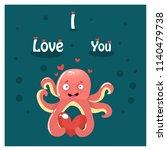 octopus  love  vector... | Shutterstock .eps vector #1140479738