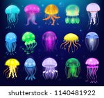 jellyfish vector ocean jelly... | Shutterstock .eps vector #1140481922