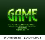 vector bright green logo game.... | Shutterstock .eps vector #1140492935