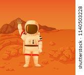 astronaut on the mars surface... | Shutterstock .eps vector #1140503228