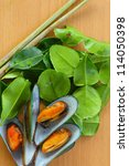 mussel and herb | Shutterstock . vector #114050398