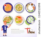 thai food set recommend by the... | Shutterstock .eps vector #1140513398