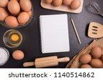 fresh farm eggs whipping eggs... | Shutterstock . vector #1140514862