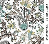 seamless pattern with  paisley  ... | Shutterstock .eps vector #1140532355