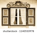 typical old bavarian window | Shutterstock . vector #1140533978
