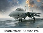 f 14 tomcat jet fighter on a... | Shutterstock . vector #114054196