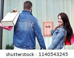 portrait of happy couple with...   Shutterstock . vector #1140543245