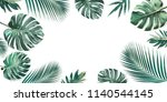 tropical leaves set with white... | Shutterstock . vector #1140544145