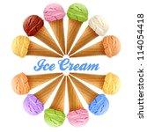 Mixed Ice Creams In Cones On...