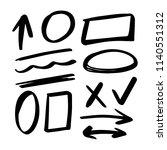 set od hand drawn doodle... | Shutterstock .eps vector #1140551312
