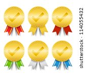 set of golden medals with check ... | Shutterstock .eps vector #114055432