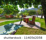 the resting area at the beach... | Shutterstock . vector #1140562058