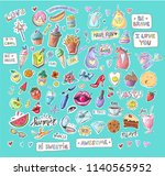fashion patch badges with lips  ... | Shutterstock . vector #1140565952