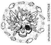 vector illustration. skull with ... | Shutterstock .eps vector #1140579068