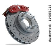 brake disk with a red support. isolated on white background High resolution 3d render - stock photo