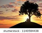 silhouette of a little girl...   Shutterstock . vector #1140584438