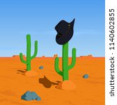 cowboy hat on cactus in the... | Shutterstock . vector #1140602855