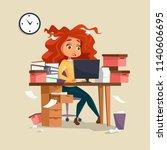 woman in office stress...   Shutterstock . vector #1140606695