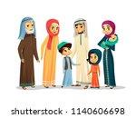 cartoon arab family characters ... | Shutterstock . vector #1140606698