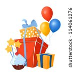 birthday design elements | Shutterstock .eps vector #114061276