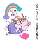 cute pig in a denim and in a... | Shutterstock .eps vector #1140615122