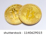 two bitcoins. digital currency... | Shutterstock . vector #1140629015