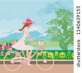 girl is riding bike on spring... | Shutterstock . vector #1140639155