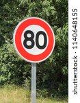 speed limit traffic sign 80 on... | Shutterstock . vector #1140648155