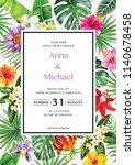 tropical hawaiian wedding... | Shutterstock .eps vector #1140678458
