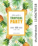 tropical hawaiian party... | Shutterstock .eps vector #1140678518