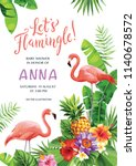 flamingo party invitation.... | Shutterstock .eps vector #1140678572