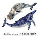 cute watercolor whales | Shutterstock . vector #1140680012