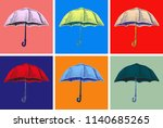 umbrella hand drawn sketch... | Shutterstock .eps vector #1140685265