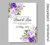 violet peony wedding invitation ...   Shutterstock .eps vector #1140693482