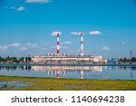 electricity power plant on... | Shutterstock . vector #1140694238