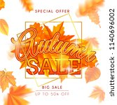 autumn background with maple... | Shutterstock .eps vector #1140696002