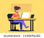 cute girl working in the office ...   Shutterstock .eps vector #1140696182