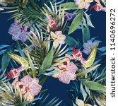 orchid flowers seamless pattern.... | Shutterstock . vector #1140696272