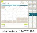 french calendar 2019   calendar ... | Shutterstock .eps vector #1140701108