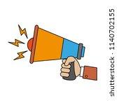 hand holding bullhorn | Shutterstock .eps vector #1140702155