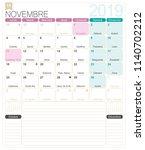 french calendar 2019   november ...   Shutterstock .eps vector #1140702212