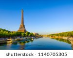 view of eiffel tower and river... | Shutterstock . vector #1140705305