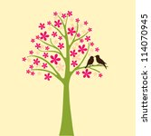 card with floral tree  vector... | Shutterstock .eps vector #114070945