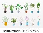 set of plants and flowers.... | Shutterstock .eps vector #1140725972